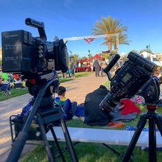 Both #BlackmagicDesign #UrsaMiniPro cameras powere up by @kameratools #GenEnergy V-mount batteries..