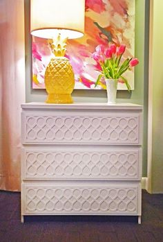 Plain Ikea Malm dresser turned an irresistible dresser with overlays from Danika & Cheryle Mirrored Furniture, Ikea Furniture, Furniture Makeover, Painted Furniture, Dresser Makeovers, Refinished Furniture, Unique Furniture, Vintage Furniture, Ikea Malm