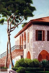 Lebanese Artist - Georges Serhal - Directory of Artists from Lebanon Beautiful Sites, Beautiful Places, Unusual Homes, Castle House, Mountain Homes, Dream Decor, Traditional House, House Painting, Building Design
