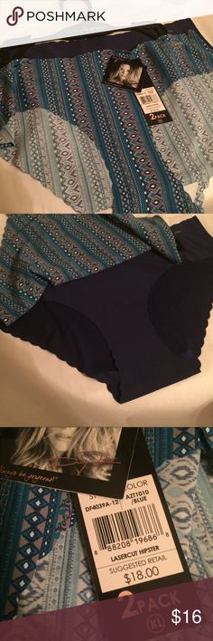 DAISY FUENTES LASERCUT HIPSTER 2 pack. Pretty panties by Daisy Fuentes. Blue print and navy solid. Daisy Fuentes Intimates & Sleepwear Panties
