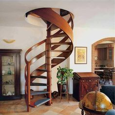 spiral stairs with curved wood railing Wood Railing, Stair Railing, Railings, Modern Staircase, Spiral Staircase, Home Stairs Design, House Design, Best Interior Design, Interior Decorating