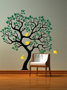 Vinyl Wall Decal - Tree with birds wall decal sticker. via Etsy.