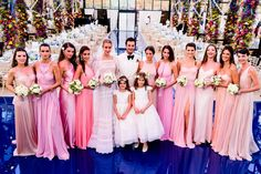 Ana Beatriz Barros' bridesmaids wore mismatched dresses from of different hues and designers.
