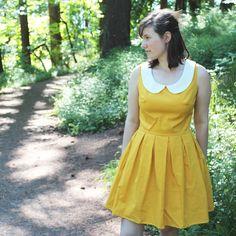 Choose Color Peter Pan Collar Dress - Mustard Yellow, Mad Men, Tea Dress, 1950's dress, Retro, Mod, Pin Up