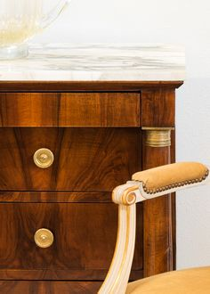 Superb figured walnut and arrabescato marble top set this #antique Empire chest of drawers over the top!