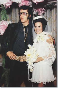 Elvis and friend Barbara Little on her wedding day LOVE DRESS