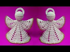 How To Crochet Christmas Angel - Crochet Ideas Angel Ornaments, Diy Christmas Ornaments, Christmas Angels, Christmas Poinsettia, Thread Crochet, Crochet Crafts, Crochet Projects, Crochet Angel Pattern, Crochet Angels