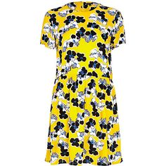 Yellow floral print smock dress - day / t-shirt dresses - dresses - women