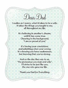 Father of the Bride poem card Great addition to a custom handkerchief. Wedding 2015, Our Wedding, Wedding Decor, Dream Wedding, Wedding Things, Wedding Stuff, Gifts For Wedding Party, Wedding Wishes, Wedding Poems