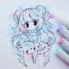 Mi pobre blender murió, ese ese lápiz transparente que está en la foto, ayuda…」 Anime Drawings Sketches, Anime Sketch, Kawaii Drawings, Manga Drawing, Manga Art, Cute Drawings, Chibi Kawaii, Art Kawaii, Anime Kawaii