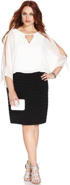 Xscape Plus Size Splitsleeve Blouson Shutter Pleat Dress in Black (Ivory/Black) - Lyst