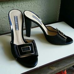 Anne Klein Verocuoid Black Buckle Heels Brand Anne Klein  Style Verocuoid  Size 7M Made in Italy  Woven Upper with Black and Gold Buckle look. Patient Leather  bottom Awesome summer shoe. Very nice condition Anne Klein Shoes Heels