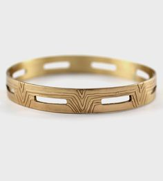 Rectangle Cutout Bangle Bracelet by Amanda Hagerman. Hand drawn etched design.