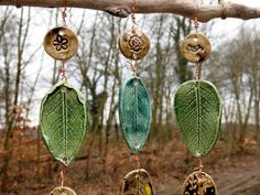 Ceramic Wind Chime Wind Bell Mobile with Driftwood Leaves green brown Leaf Projects, Clay Art Projects, Ceramics Projects, Clay Crafts, Hand Built Pottery, Slab Pottery, Ceramic Pottery, Ceramic Beads, Ceramic Clay