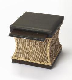 Cosmopolitan Mathilda Raffia & Leather Bunching Ottoman