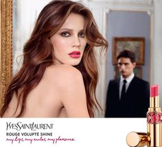 Yves Saint Laurent Rouge Volupté Shine. The model, Marine Vacth, is wearing shade #6 Pink in Devotion
