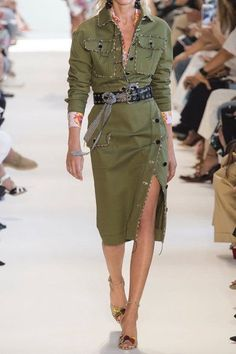 Green cotton-blend twill Button fastenings through side 98% cotton, 2% elastane; lining: 67% viscose, 33% polyester Dry clean Designer color: Olive Green Made in ItalyAs seen in The EDIT magazine