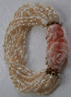 Vintage Natural Carved Rose Angel Skin Pink Coral and Biwa Freshwater Pearl Bracelet