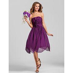 vestido de la dama de honor de gasa sin tirantes de una línea (579 736) – EUR € 64.34