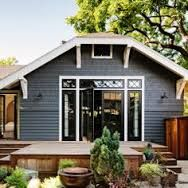 This is an overall blue grey look. (trimm in this photo is too stark) and would be softened with either Edgecombe Grey or Ashwwod. Both are from Benjamin moore The body of the house is evening dove exterior - Google Search