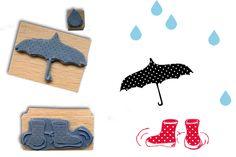 Puh, dieser Herbst! Ein Sauwetter!  Im Set: Regenschirm, Gummistiefel, Regentropfen.  Die Stempel sind auf hübschen Holzgriffen angebracht.  ...