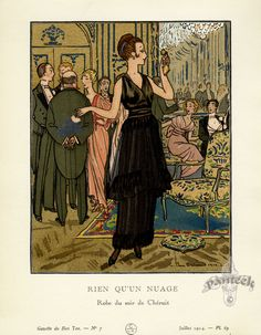 Rien Qu'un Nuage by Pierre Brissaud  - Gazette du Bon Ton Antique Fashion Prints 1912-1913