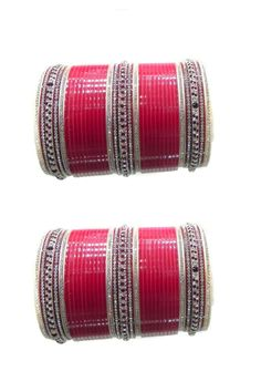 ATTRACTIVE INDIAN BRIDAL RED MAROON CHURA DESIGN CZ STONE STUDDED BANGLES