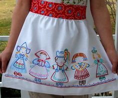 Embroidery apron using Allsorts Pretty Maids patterns by Jenny B Harris : http://www.etsy.com/listing/62117963/pretty-maids-one-pdf-embroidery-pattern