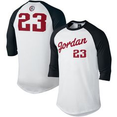 bcd785a8233 Men s White Black Air Jordan Retro 9 3 4-Sleeve Raglan T-