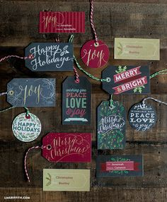 Free printable Christmas Gift Tags and Labels by Lia Griffith