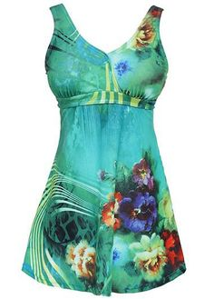 Padded Open Back Flower Print Swimdress and Panty on sale only US$31.95 now, buy cheap Padded Open Back Flower Print Swimdress and Panty at liligal.com