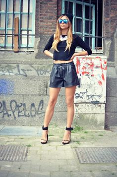 high waisted leather shorts.