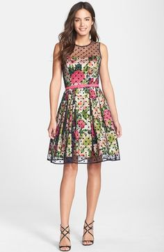 Eliza J Polka Dot Mesh & Print Charmeuse Fit & Flare Dress: Shop this Style Dressy Dresses, Cute Dresses, Vintage Dresses, Summer Dresses, Floral Dresses, Pretty Outfits, Cute Outfits, Pretty Clothes, Dress Skirt