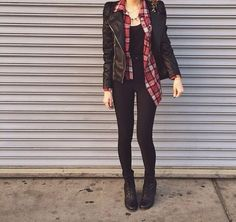 Combat Boots, Black Pants, Black Tank, Flannel Button Down, Leather Jacket, Black Bag, Red Nails