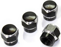 """Amazon.com : (4 Count) Cool and Custom """"Short Two Tone Hexagon with Easy Grip Shape"""" Tire Wheel Rim Air Valve Stem Dust Cap Seal Made of Genuine Anodized Aluminum Metal {Eerie Audi Black and Silver Colors - Hard Metal Internal Threads for Easy Application - Rust Proof - Fits For Most Cars, Trucks, SUV, RV, ATV, UTV, Motorcycle, Bicycles} : Sports & Outdoors"""