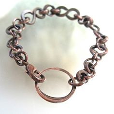 Antiqued Copper Chain Bracelet Handmade Metalwork Oxidized Metal Rustic Unisex Fashion Jewelry