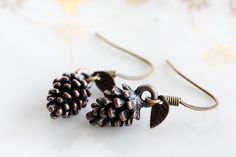 Brown Pine Cone Earrings Woodland Pinecone Tiny by SilentRoses, $22.00