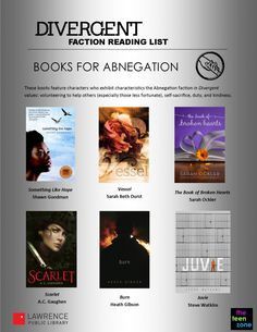 Divergent Faction Reading List: Abnegation. Think you'd be in abnegation? You might enjoy these books.