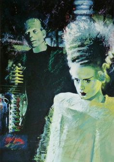 Bride Of Frankenstein by British designer and illustrator Graham Humphreys Classic Horror Movies, Horror Films, Horror Art, Beetlejuice, Horror Themes, Horror Monsters, Frankenstein's Monster, Famous Monsters, Bride Of Frankenstein