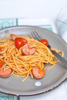 Wurstel and spaghetti