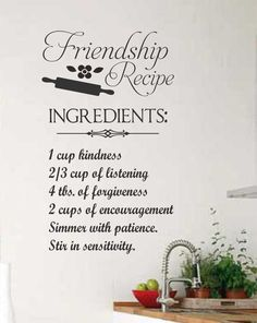 Vinyl Wall Lettering Quotes Friendship Recipe by WallsThatTalk, $13.00