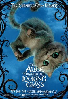 The Cheshire Cat looking more like a playful kitten from Disney's Alice Through the Looking Glass.