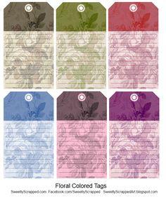 de jolis tags au délicat motif floral... elles sont de Sweetly Scrapped et disponibles en 6 couleurs...