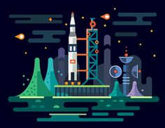 Space: planets, stars, rockets. Vector flat set - via @designhuntapp