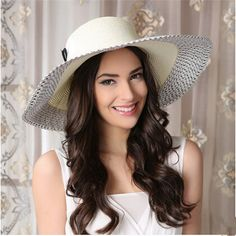 Fashion feather bow straw hat for women wide brim hat summer UV protection