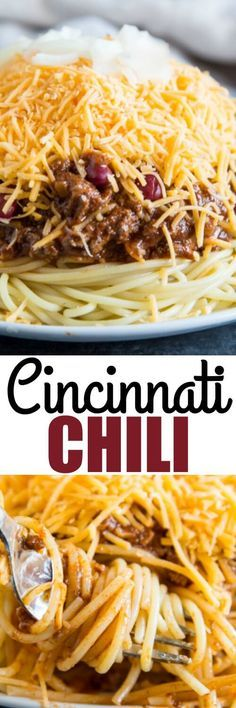 Flavored with unexpected spices, serve this meaty Cincinnati Chili over cooked spaghetti with all garnishes: beans, onions, and cheese! via (chili cheese bites) Chili Recipes, Pasta Recipes, New Recipes, Soup Recipes, Dinner Recipes, Cooking Recipes, Favorite Recipes, Muffin Recipes, Gourmet