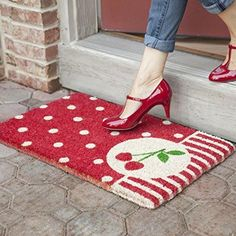 Cherry front door mat To go with that red front door.