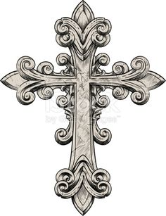 Vector illustration of a stone cross