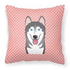 Carolines Treasures Checkerboard Pink Alaskan Malamute Square Decorative Outdoor Pillow - BB1218PW1414