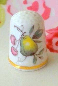RP: Vintage antique porcelain PEARS thimble - etsy.com